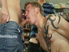 Cock swallowed in gay public gangbang