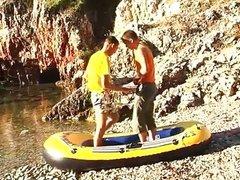 Gays on tropical island sucking big dick