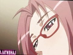Hentai babe with glasses gives head