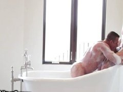 Hot man candy blowing cock in bath