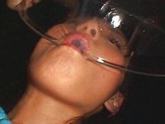 Sexy Asian Girl Drinking LOADS of Cum