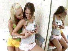 Pervert hands enjoy lesbian exploration