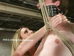 Cock tied in ropes in bondage domination