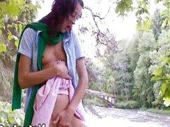 sexy masturbation next to river