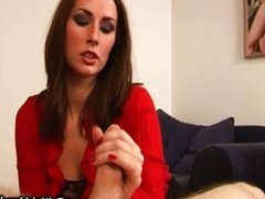 Hot babe slaps and pulls cock