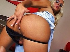Blond shemale rides dick