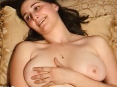 Brunette's hairy pussy pounding