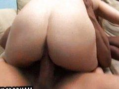 Blond girl fucked by black dicks