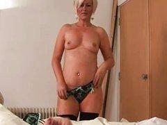 Blonde babe in lingerie get cumshot