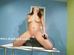 Slut using fuck chair to please herself