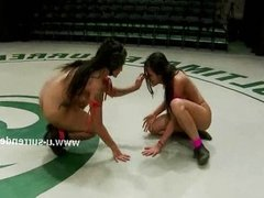 Lesbian perverts fuck with a big toy
