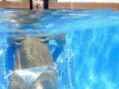 Underwater fantasies of brunette beauty