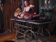 Bitch gets treatment on bondage bed