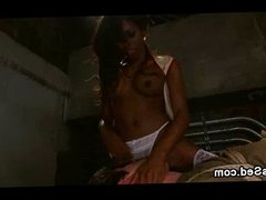 Black tranny in stockings fucks bound guy