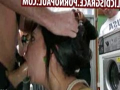 Amateur gangbang fucked in laundromat
