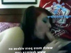 Arabian girl blows her boyfriend