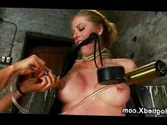 Bound busty blonde nipples suction
