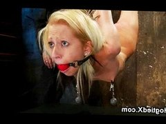 Flexible blonde hogtied and whipped