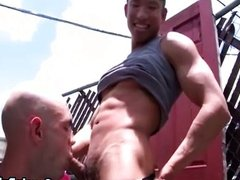 Asian gay in public gets blowjob