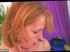 Hot grandma strips and plays with dildo