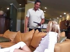 Blonde babysitter gets hot and horny