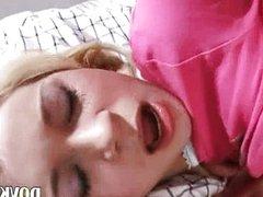 Bedroom tumbling with belarusian couple