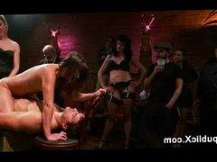 Brunette double penetration fucked in bar