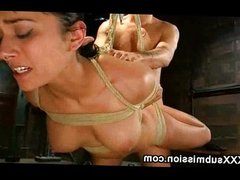 Hogtied suspended babe gangbanged and caned