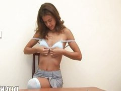 Small titted cuttie strips in office