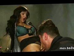 Tranny and guy cops suck each other in office