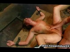 Immobilized babe fucked and waxed