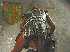 Strong gladiator loves himself