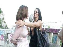 Sandra Romain dominates a british girl