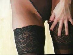 Celeste in nylon fetish outfit grinding