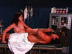 Fetish nurse lets him lick her boot