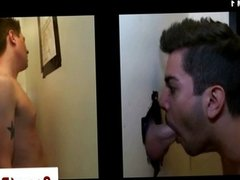 Gay straight gloryhole blowjob facial