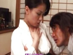 Japanese mature milf gets wet for cock