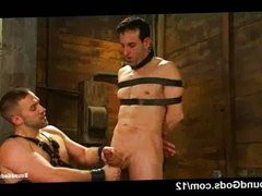 Bound gay gets tit torment in dungeon