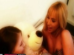 Blonde teen fingering her ass and pussy