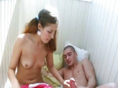 Hardcore sex on balcony with Russian