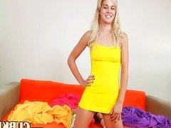 charming blonde making dildo show