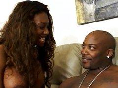 Hot ebony gets a nice cumshot