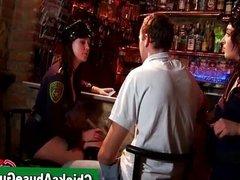 Police girls punish man at the bar