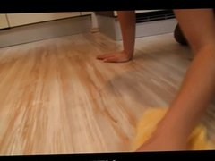 Hot teen Caprice getting hard fuck at kitchen