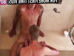 Two boys having sex in the shower