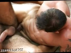 Hairy studs fucking in the open air