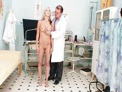 Hot blond babe vagina examination and enema