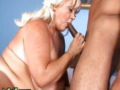 Bbw fat big tits plumper sucks cock