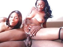Two brown chicks one black dick
