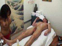 Naked Asian masseuse jerking off dick